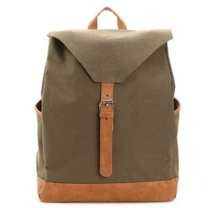 Army green canvas backpack tan